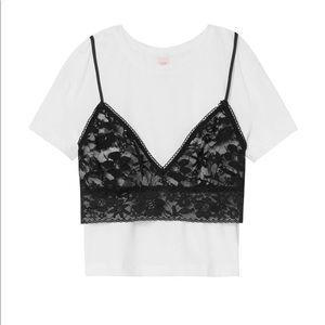 Victoria's Secret Tops - Victoria's secret black Lace white Crop Top Tee